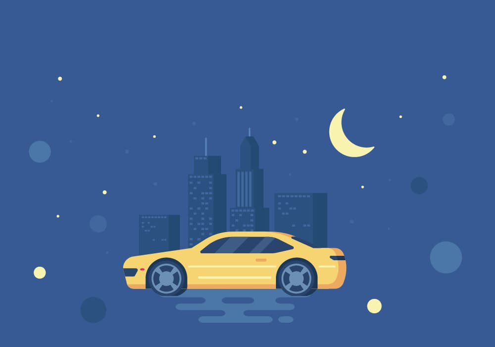 7 tips for safe driving at night infographic